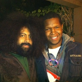 Will and Reggie Watts after Reggie's performance.