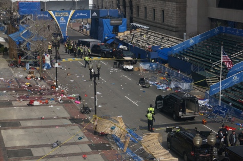 A deserted Boston Marathon finish line after the bombings. Photo taken by Aaron Tang