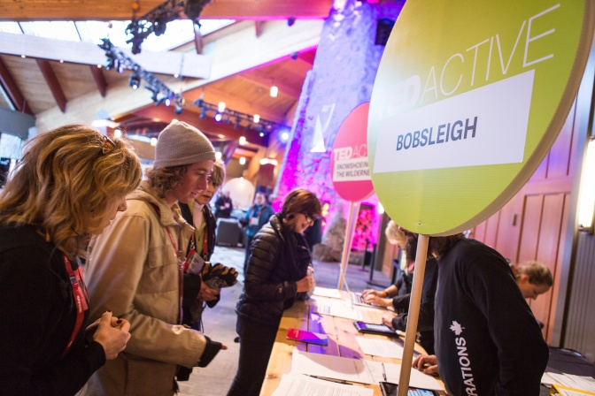 Attendees sign up for bobsleigh