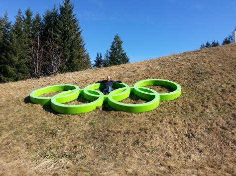 Posing with Whistler Olympic rings