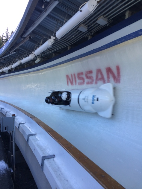 Bobsled speeds down the track